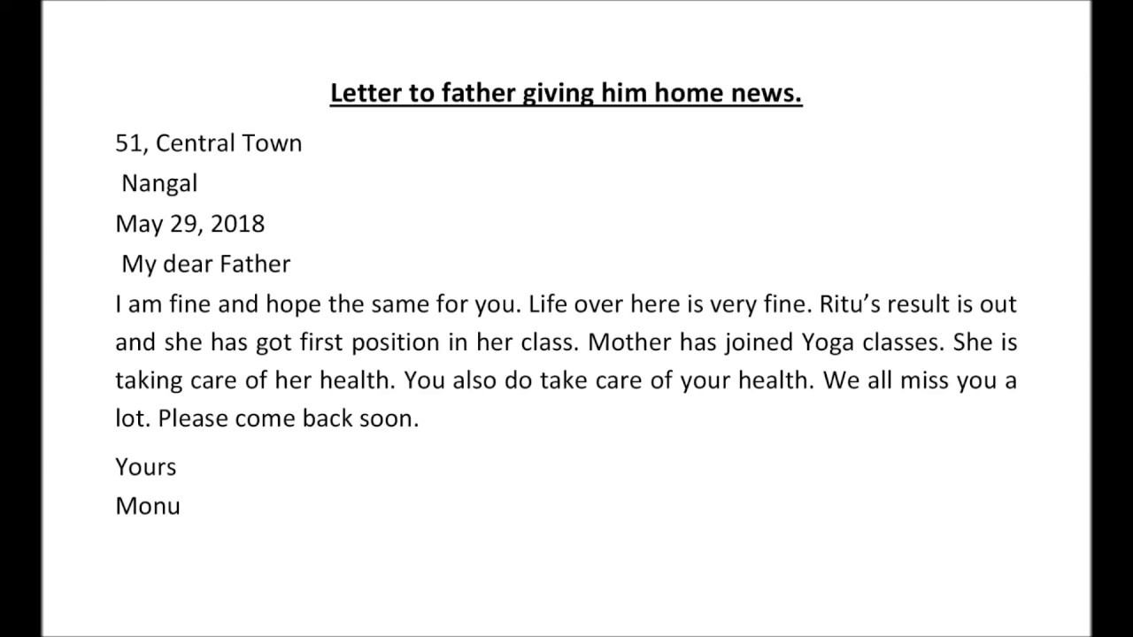 letter to father giving him home newsletter writing in englishsample letter