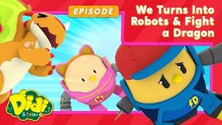 Didi, Nana And Jojo Turns Into Robots And Fight A Dragon   Didi & Friends English