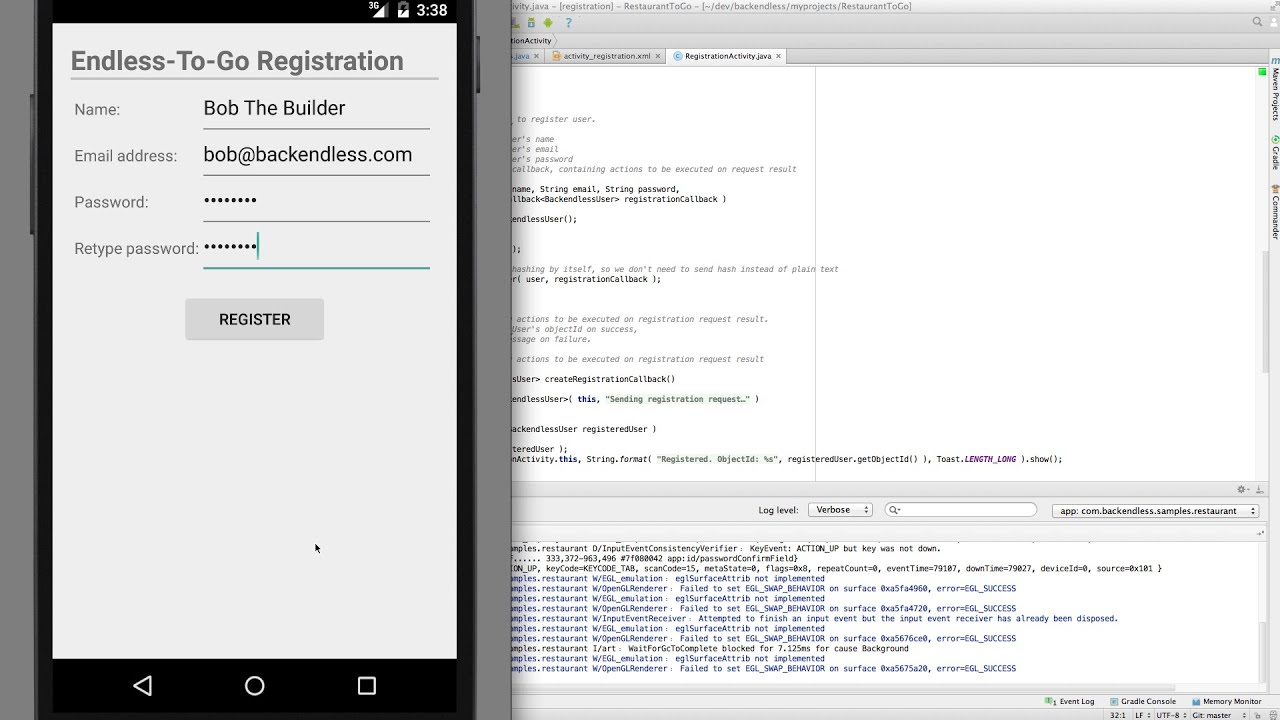 backendless sample app for android using user registration api