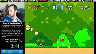 Super Mario World -- 4:49.8 Former World Record Speedrun w/Credits Warp Glitch