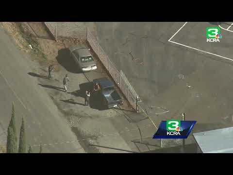 Aerial view of shooting scenes near Rancho Tehama school