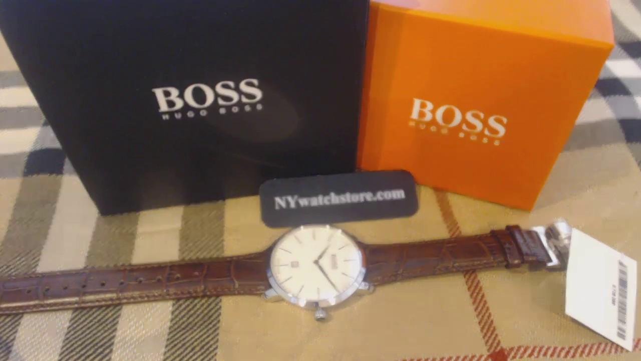 0256633db6f Men s Hugo Boss Swiss Made Signature Brown Leather Watch 1513255 ...