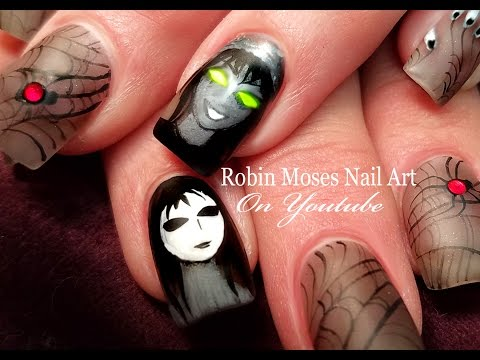 Creepypasta & Marble Hornets Nail Art | The Puppeteer and Masky Nails Design Tutorial