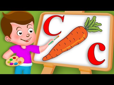 Drawing Alphabet C Letter with Vegetable Carrot Drawing Paint And Colouring | Kids Drawing TV