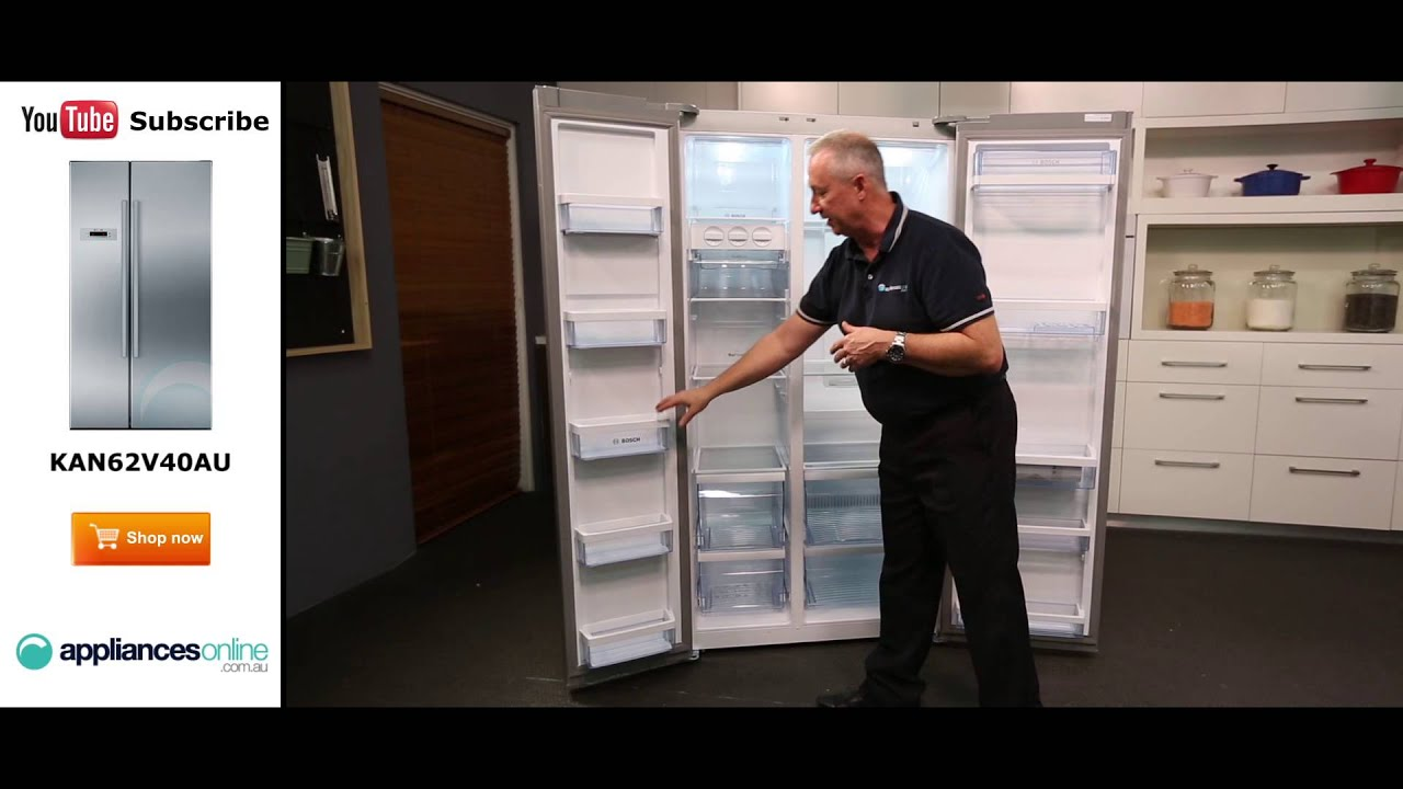 678l bosch side by side fridge kan62v40au reviewed by product expert appliances online youtube. Black Bedroom Furniture Sets. Home Design Ideas