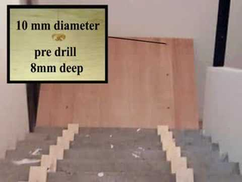 cladding a concrete stair with oak boards - YouTube