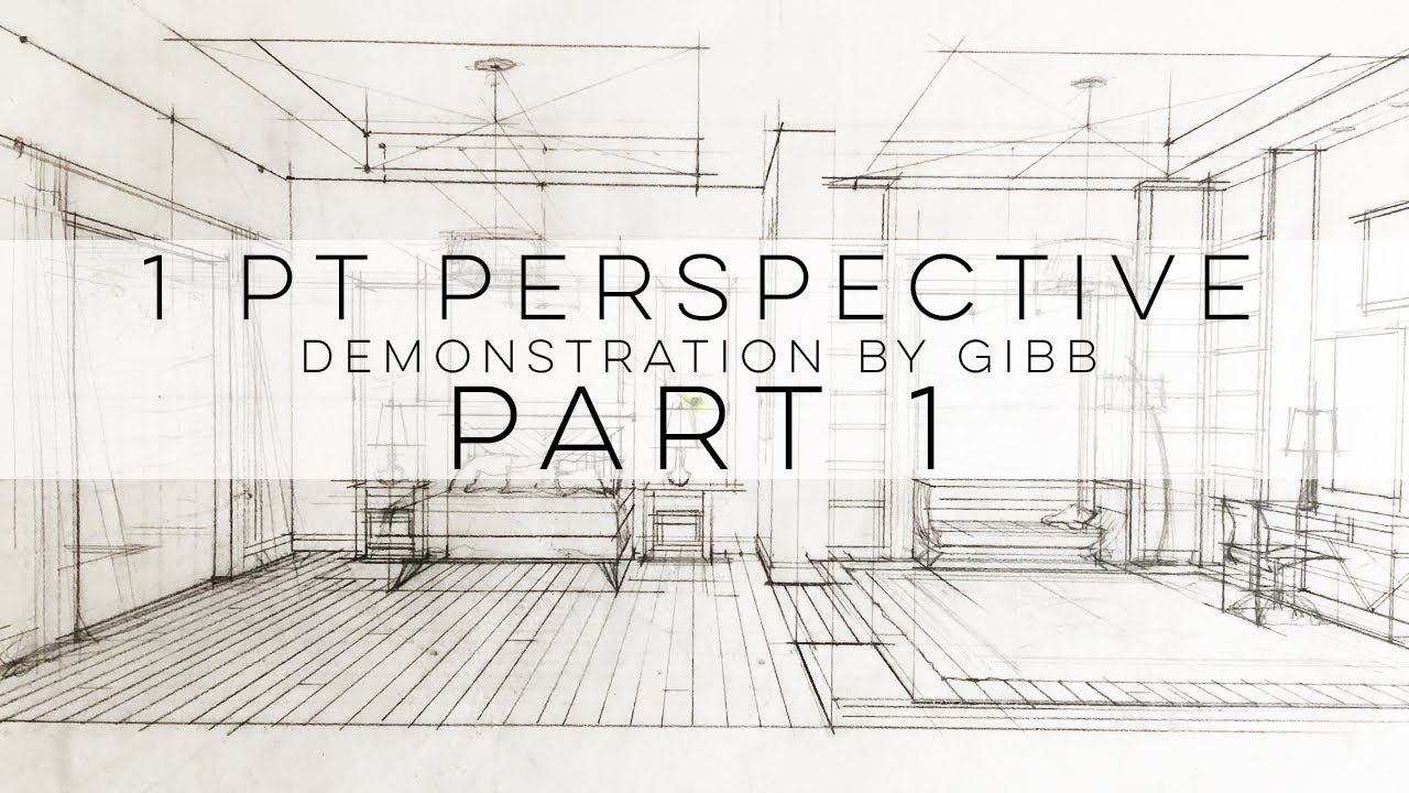 How To Draw A One Point Perspective Grid For Interior Design 1 Pt Perspective Part 1 Youtube