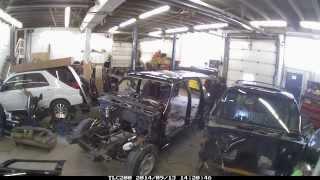 Swapping the body of a GMC Yukon XL Denali time lapse video