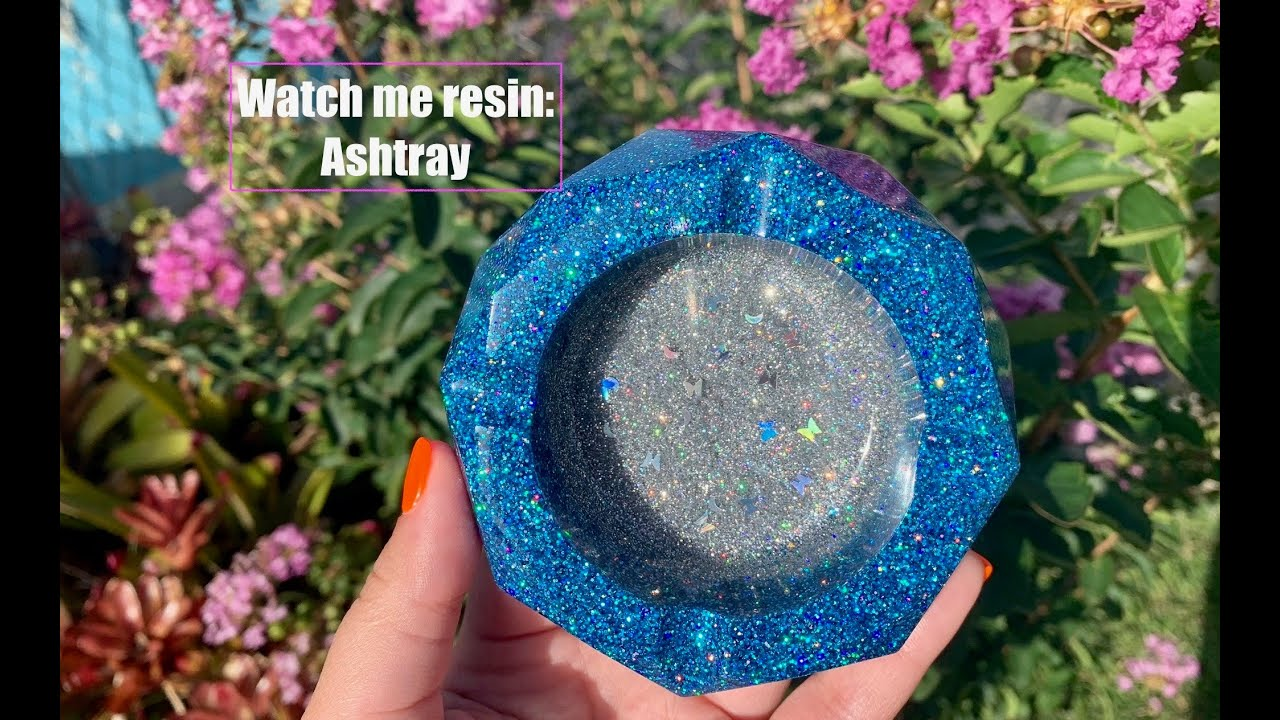 Holographic glitter resin ashtray
