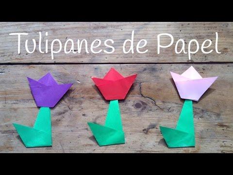 Tulipán de papel, un origami fácil para niños