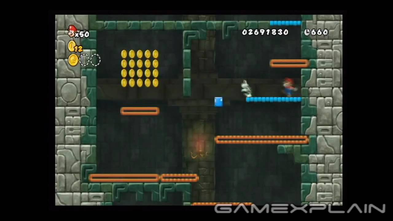 New Super Mario Bros Wii Level 4 Castle 1 Star Coins Youtube