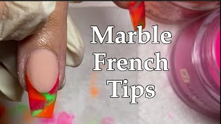 Deep Smile Line Marble French Tips Using ACRYLIC POWDER