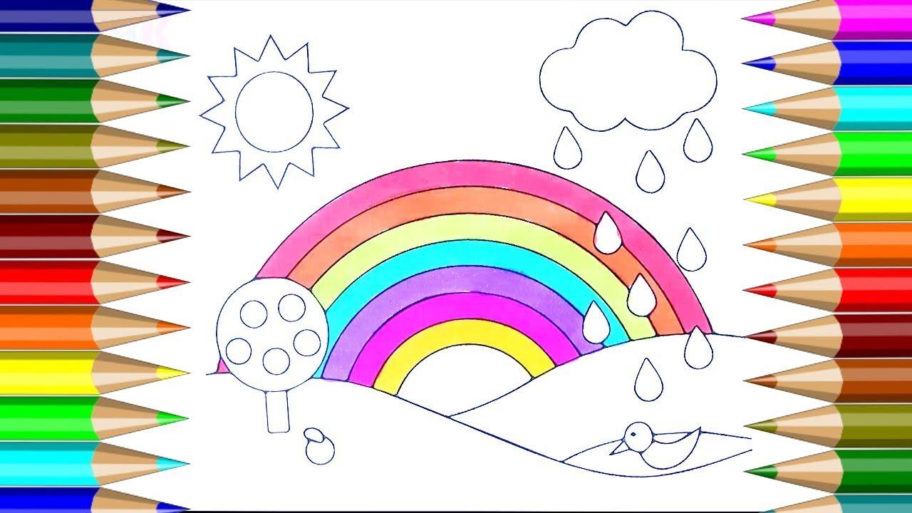 Colorido Arco Iris Para Colorear Cómo Dibujar Un Libro Para Colorear El Arco Iris Niños Dibujo