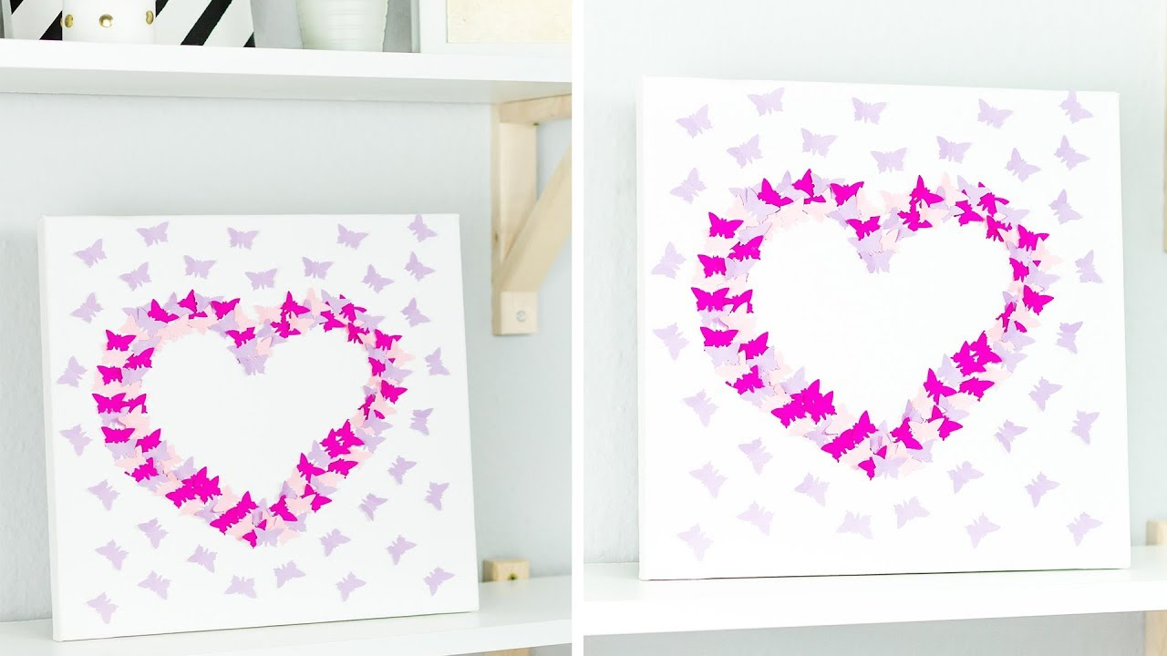 3d Wandbild Mit Schmetterlingen Selber Machen Tolle Diy Deko Idee