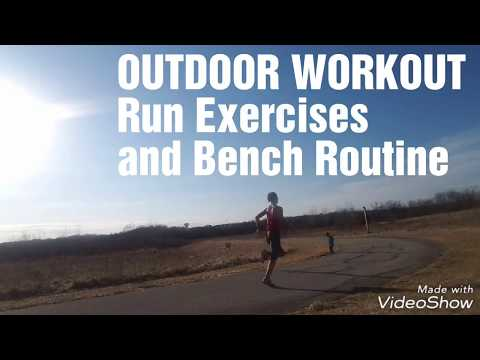 Outdoor Workout Running + Bench PARK Exercises!