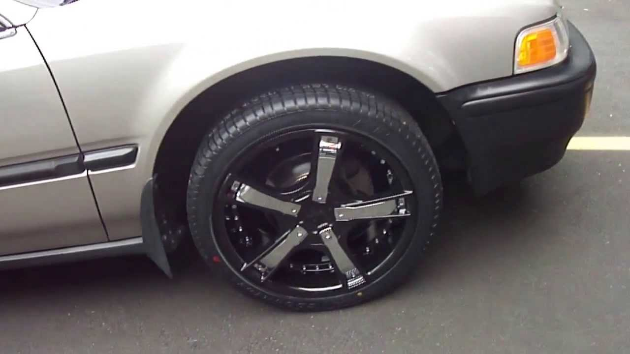 HILLYARD CUSTOM RIM&TIRE 1993 HONDA ACCORD ROLLING ON NEW 17INCH BLACK RIMS WITH CHROME INSERTS ...