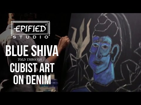 Blue Shiva | Cubist art on Denim | Epified