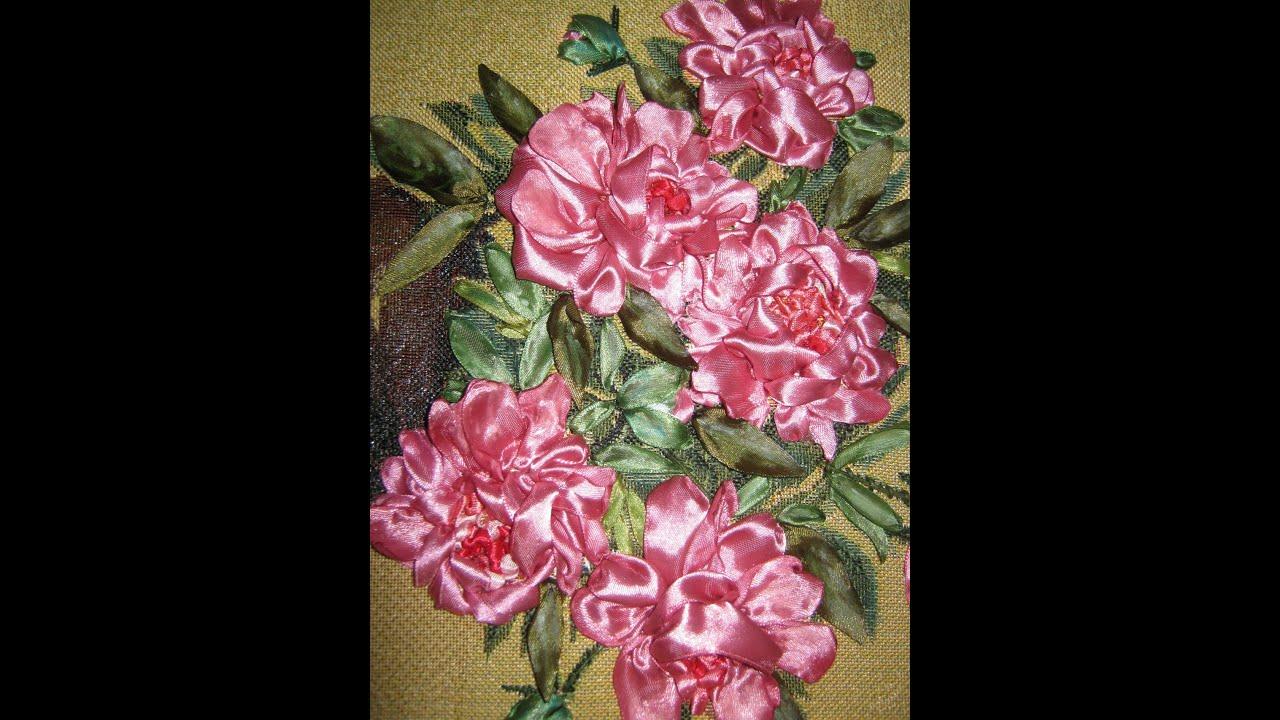ВЫШИВКА ЛЕНТАМИ. Картины. Цветы. Розы в корзине. Эскиз - часть 1 .