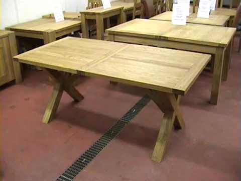 Cross x leg extending oak dining tables youtube for Cross leg table plans