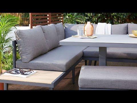 Danetti Garden: Palermo Outdoor Table, Corner & Backless Bench Set - Danetti Garden: Palermo Outdoor Table, Corner & Backless Bench Set
