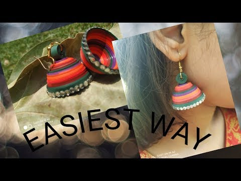 Paper quilling JHUMKA tutorial | EASIEST WAY | Crafting video #1 |