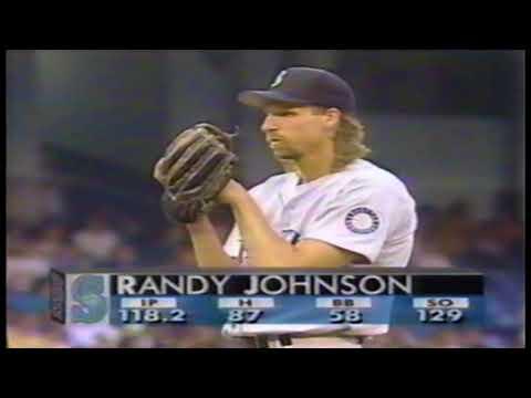 Seattle Mariners at New York Yankees  1994 07 01 Randy Johnson vs Jim Abbott great ending