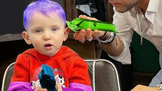 Five Kids Baby Alex's First Haircut | Going to The Hairdresser
