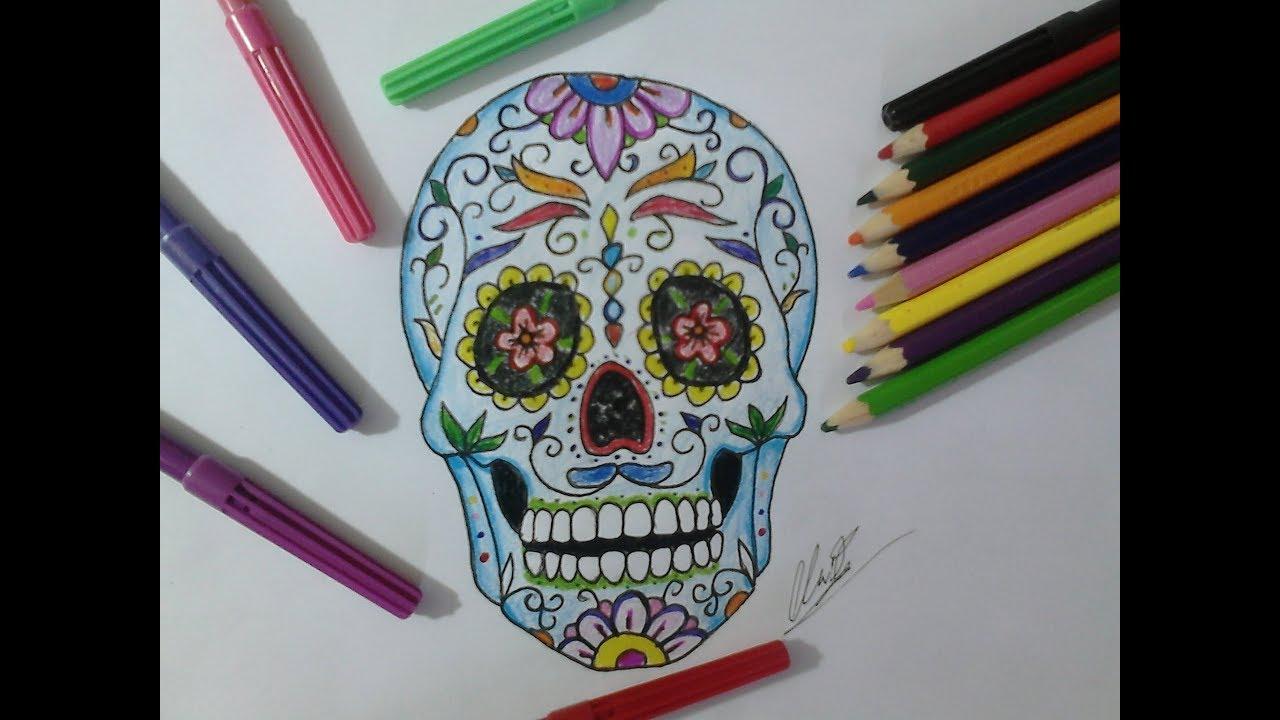 Como Desenhar Uma Caveira Mexicana How To Draw A Mexican Skull