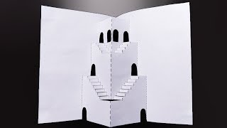 Pop Up House Card | Kirigami Pop Up Ancient Castle | Super Krigami...