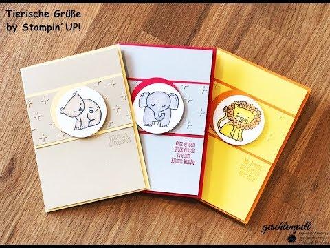 Tierische Glückwünsche - Babykarten mit den Produkten von Stampin Up - Anleitung - Tutorial