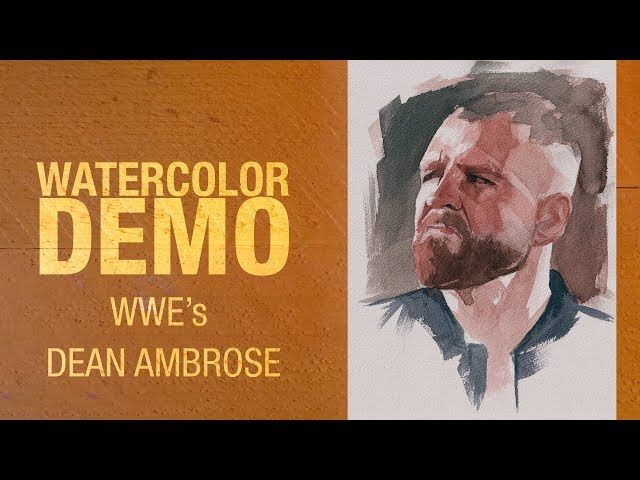 WWE's Dean Ambrose watercolor portrait demo