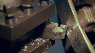 Closeup shot of a tool cutting metal at a factory in India