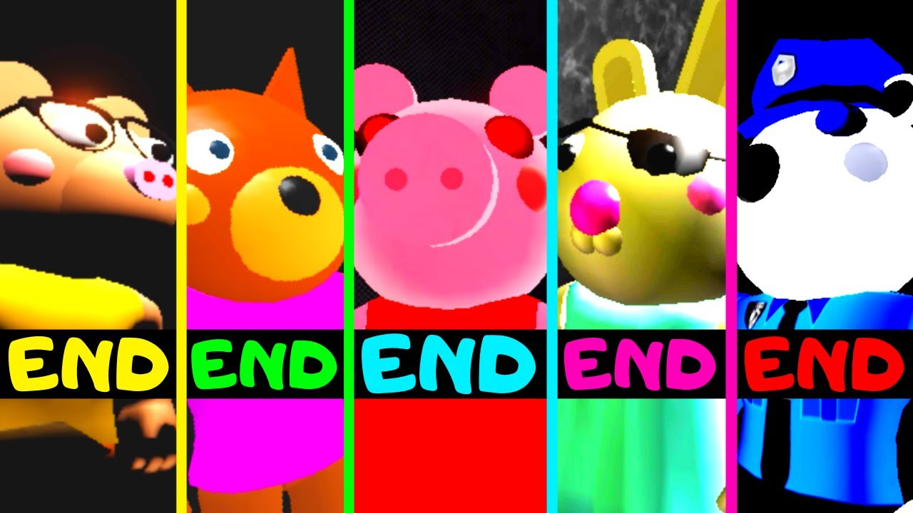 Roblox - All 5 Endings - Piggy Game Doggy's Memories!