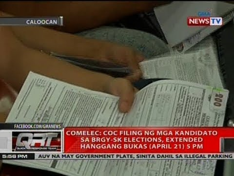 COMELEC: COC filing ng mga kandidato sa brgy-SK elections, extended hanggang bukas (April 21) 5PM