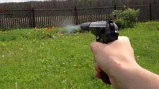 Пневматический пистолет МР 654к с глушителем стрельба