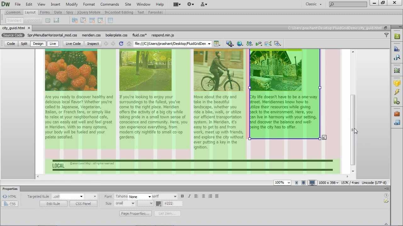 fluid grid layout in dreamweaver cs  youtube.