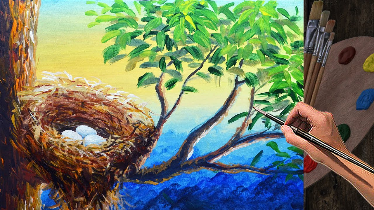 How To Paint Nest With Eggs In Tree Trunk Acrylic
