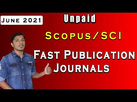 10 Unpaid Scopus/SCI Fast Publication Journals II June 2021 II My Research Support