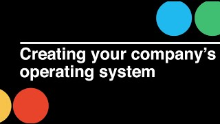 Startup CEO: Creating Your Company's Operating System