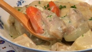 Cream Stew Recipe (White Chicken Stew with Mushrooms and Root Vegetables)  Cooking with Dog