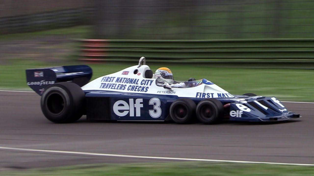 Tyrrell P34 F1 action at Imola racetrack - Engine warm up, fly bys & pure sound