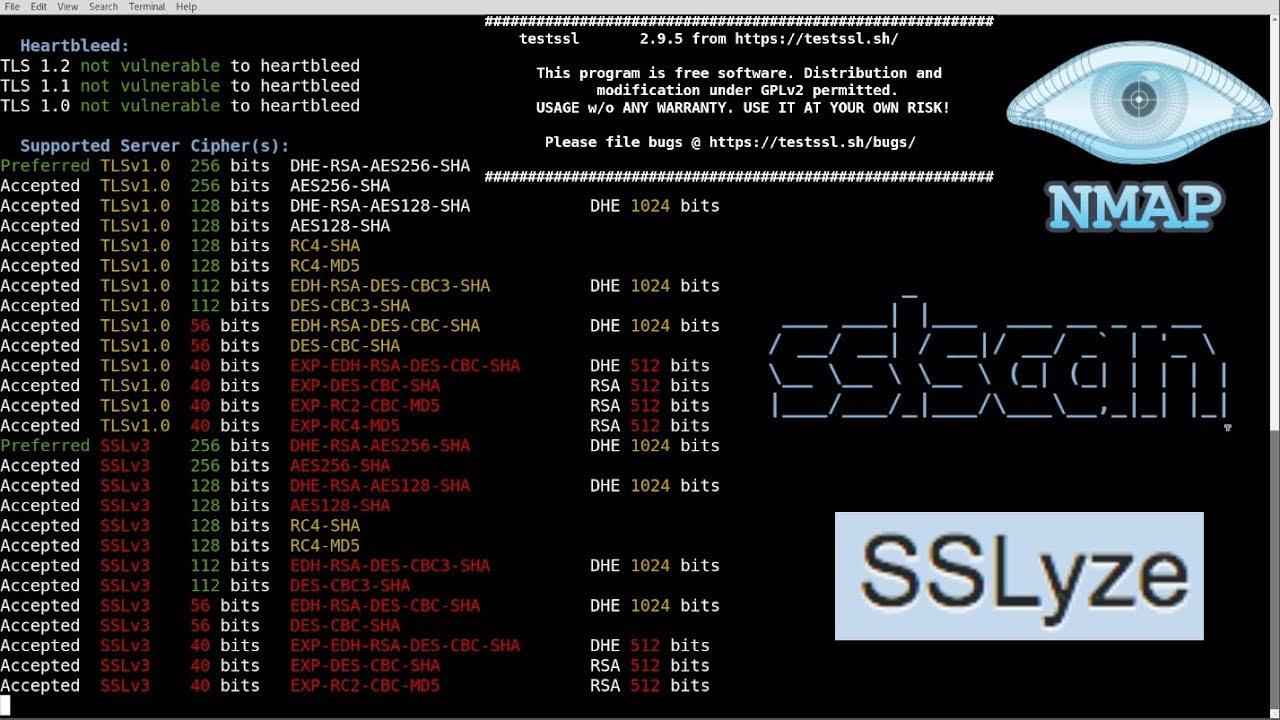 Tool Demo - SSLScan, Nmap, Sslyze, Testssl sh