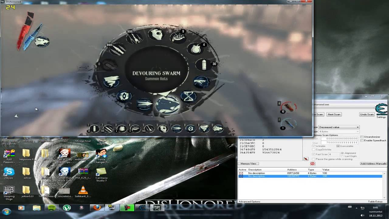 how to hack dishonored with cheat engine