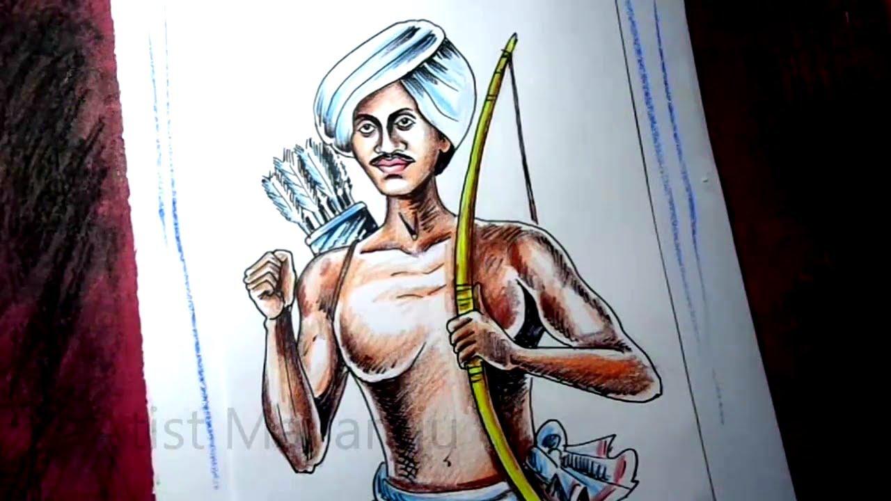 How to Draw Birsa Munda Drawing / Indian tribal freedom fighter Birsa Munda Painting Step By Step