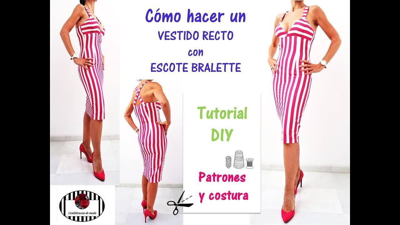 DIY. Cómo hacer un vestido recto con escote bralette - YouTube