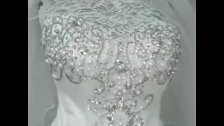 Свадебное платье А-силуэт, расшито стразами и жемчугом