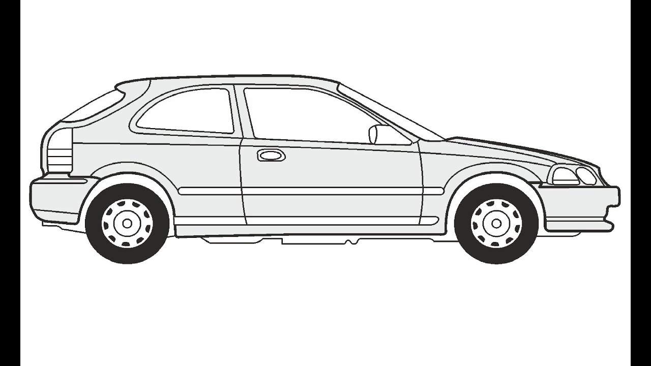 How to Draw a Honda Civic 3 / Как нарисовать Honda Civic 3