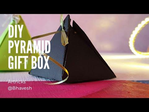 How to make gift box   Diy Pyramid gift box   easy gift box ideas   last minute gift box