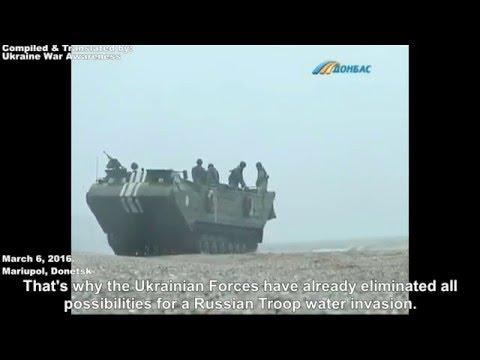 Ukrainian Army laying Sea Mines on the coast of Azov Sea, Mariupol, Donetsk. March 6, 2016.