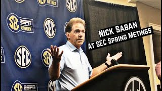 Nick Saban comments on college football free agency at SEC Spring Meetings